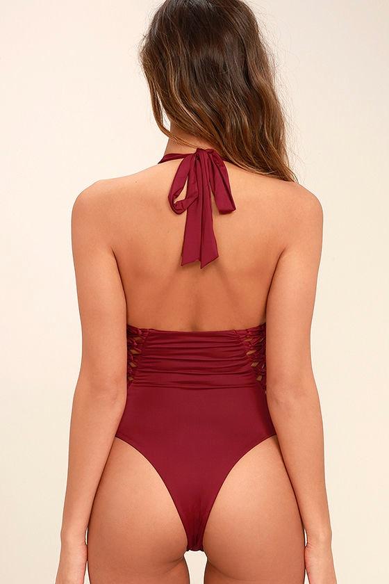 Frankies Bikinis Camilla Wine Red One Piece Swimsuit 4