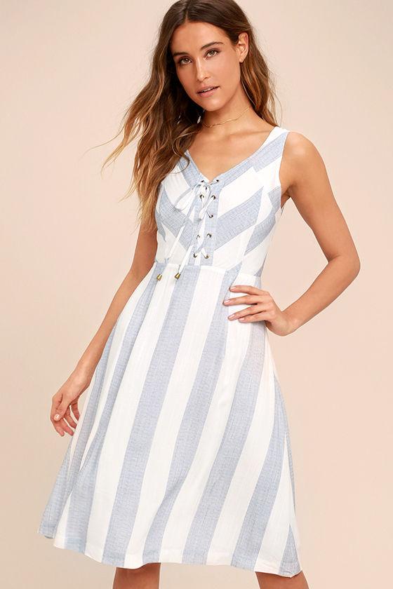 Cute Blue and White Dress - Striped Dress - Midi Dress - Lace-Up ...