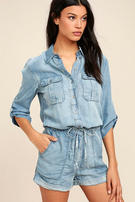 8664f7ff303 Cute Chambray Romper - Button-Up Romper - Tencel Romper -  88.00
