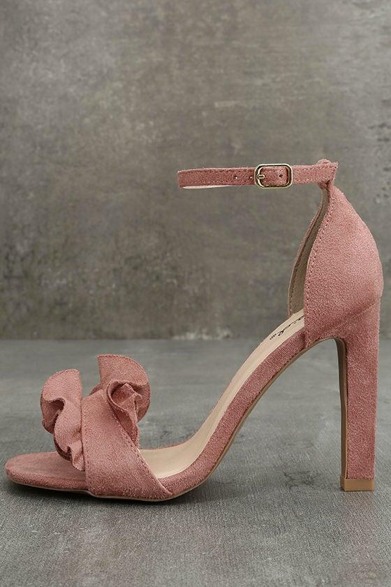 Idola Mauve Suede Ankle Strap Heels 2
