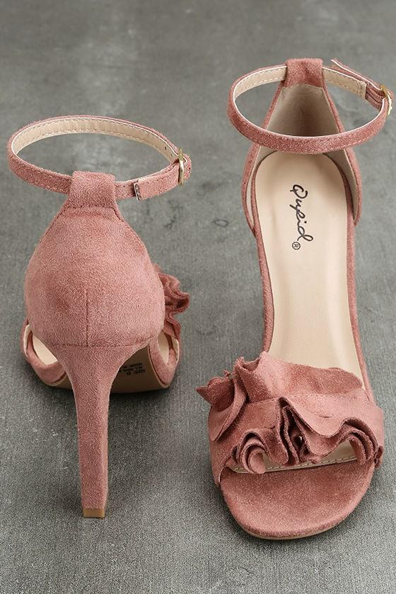 Idola Mauve Suede Ankle Strap Heels 3