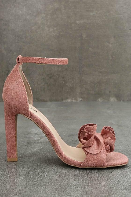 Idola Mauve Suede Ankle Strap Heels 4