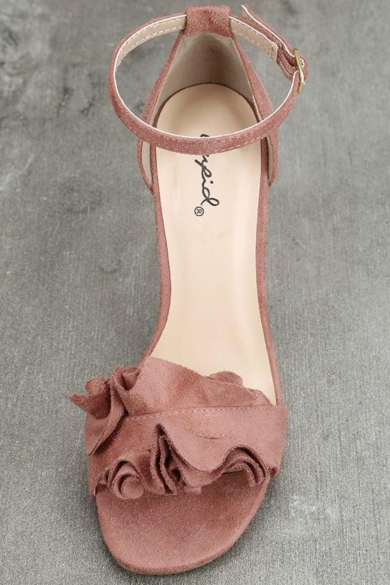 Idola Mauve Suede Ankle Strap Heels 5