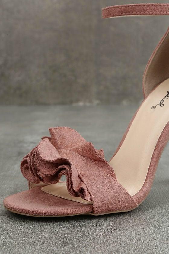 Idola Mauve Suede Ankle Strap Heels 6