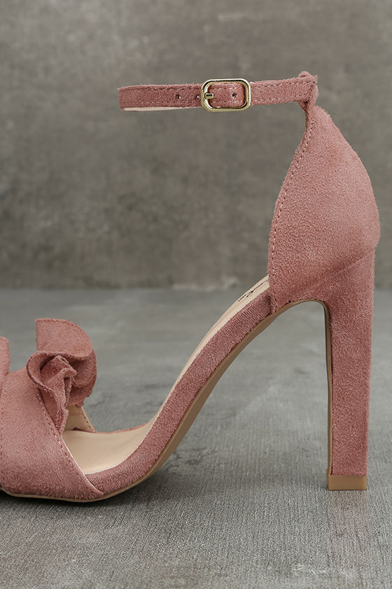 Idola Mauve Suede Ankle Strap Heels 7