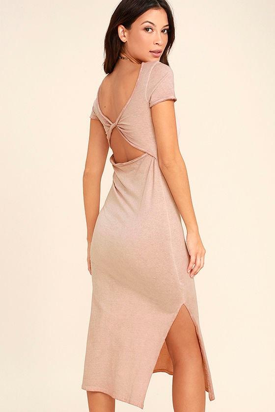 Just You Washed Mauve Backless Midi Dress 1