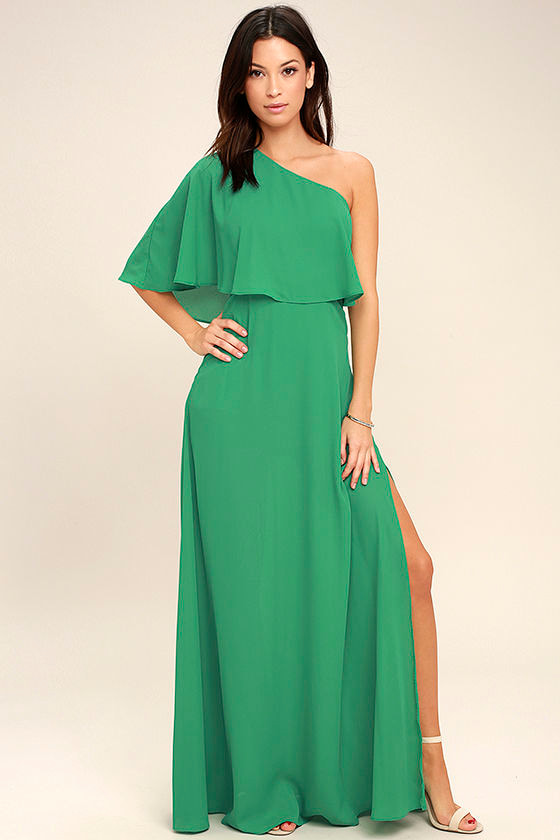 Lovely Green Dress - One-Shoulder Dress - Maxi Dress - $72.00