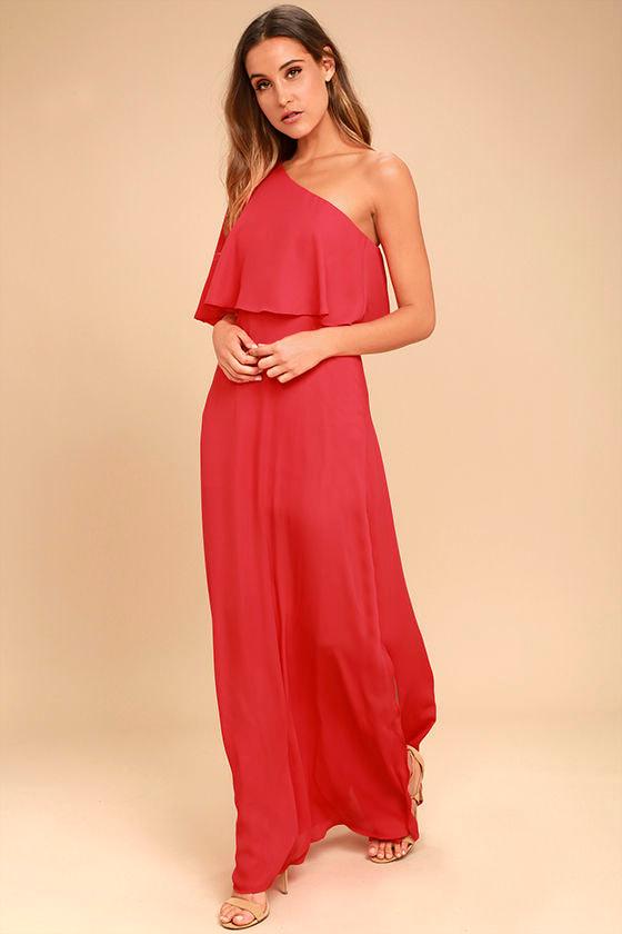 Lovely Red Dress - One-Shoulder Dress - Maxi Dress - $72.00