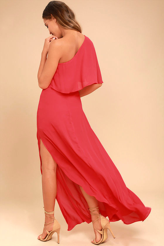 Lovely Red Dress - One-Shoulder Dress - Maxi Dress - $72.00