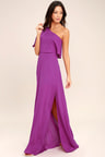 Lovely Magenta Dress One Shoulder Dress Maxi Dress 72 00