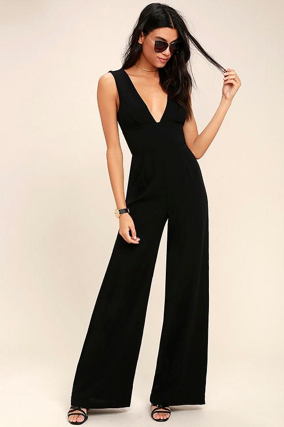 7e8d437dce3e Chic Black Jumpsuit - Wide-Leg Jumpsuit - Woven Jumpsuit -  68.00