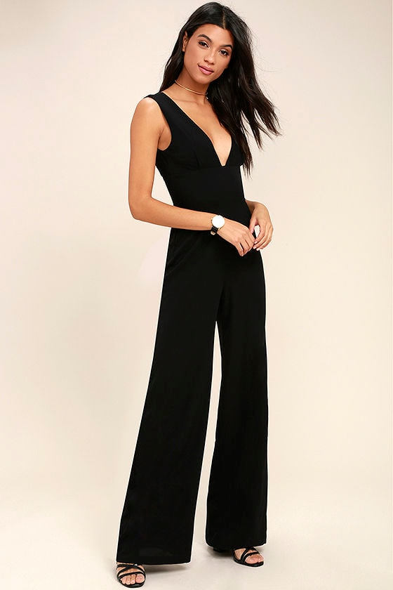 Chic Black Jumpsuit - Wide-Leg Jumpsuit - Woven Jumpsuit - $68.00