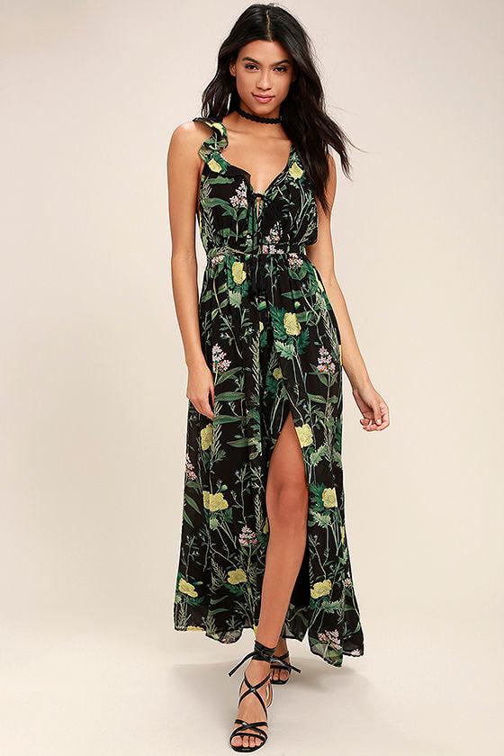 Leaf Your Mark Black Floral Print Maxi Dress 1
