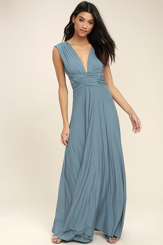 Awesome Slate Blue Dress - Maxi Dress - Wrap Dress - $78.00