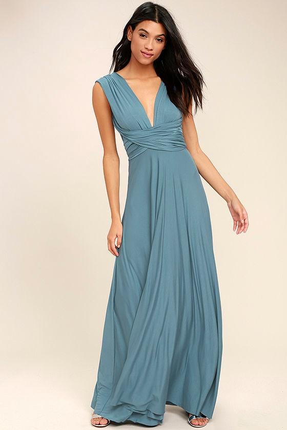 Tricks of the Trade Slate Blue Maxi Dress 1