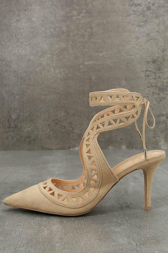 Daya by Zendaya Sutter Buff Suede Cutout Heels 1