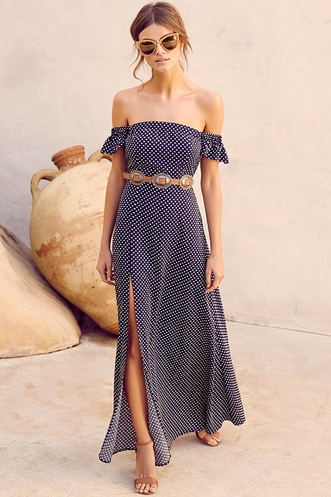 b983beaa932a Dream Love Navy Blue Polka Dot Off-the-Shoulder Maxi Dress