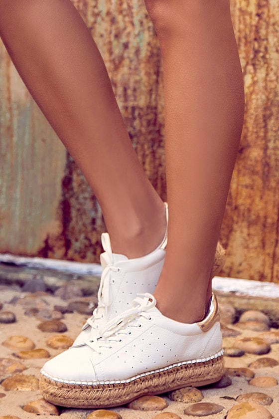 5b30d104bd7 Steven by Steve Madden Pace - White and Gold Sneakers - Espadrille Sneakers  - Flatforms -  99.00