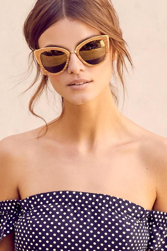02472eea8bb Woodzee Lexi Pear Wood Sunglasses - Gold Mirrored Sunglasses - Cat-Eye  Sunglasses