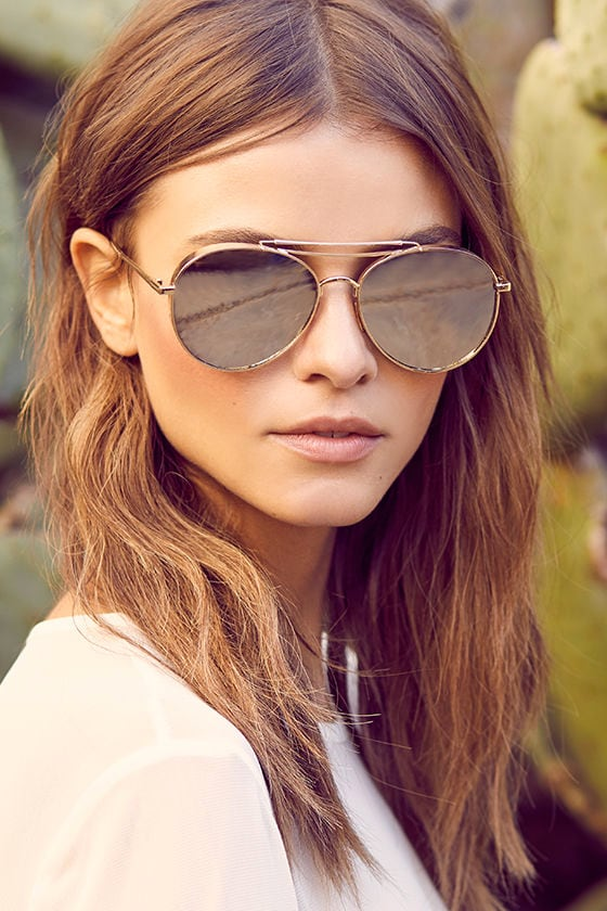 Perverse Solid Gold Mirrored Aviator Sunglasses 1