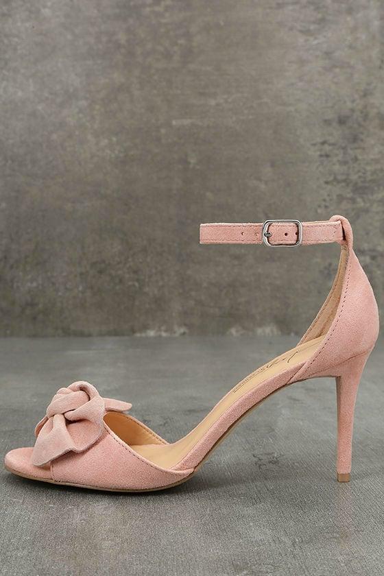 Daya by Zendaya Simms Blush Suede Leather Ankle Strap Heels 2