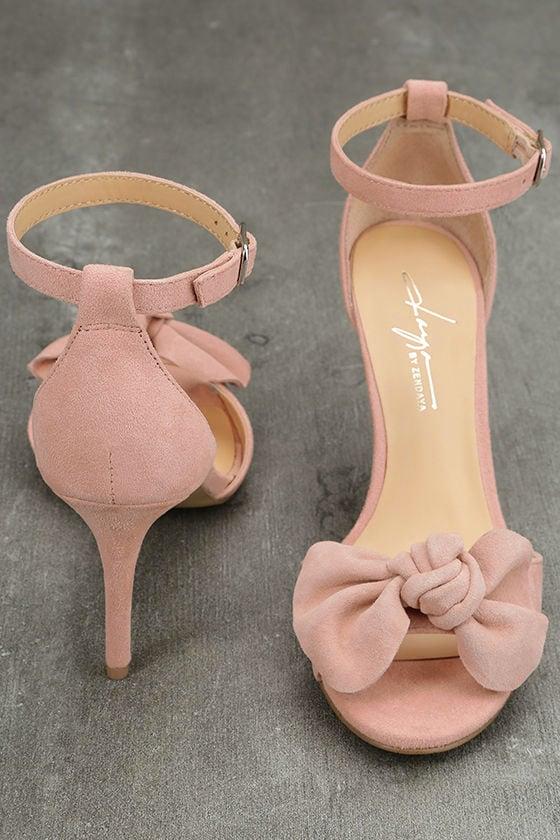 Daya by Zendaya Simms Blush Suede Leather Ankle Strap Heels 3