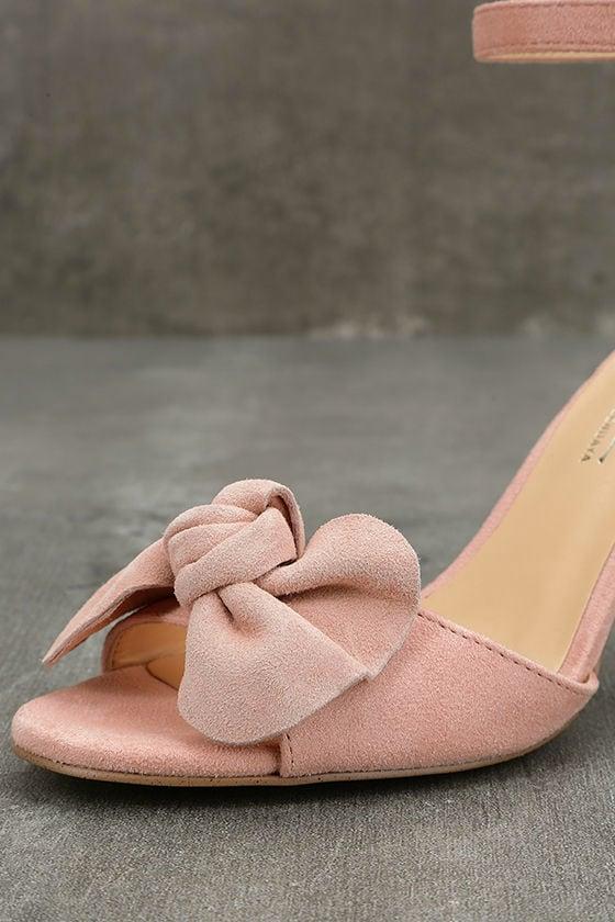 Daya by Zendaya Simms Blush Suede Leather Ankle Strap Heels 6