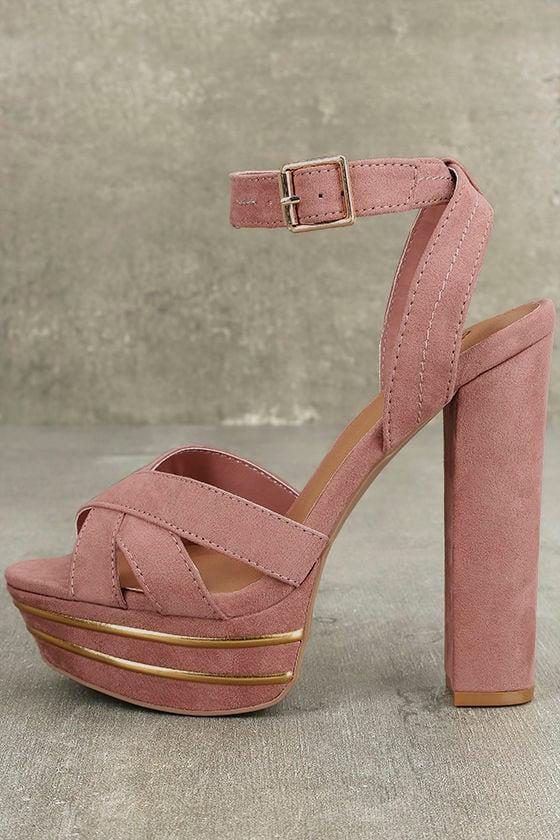c2429b4b673a Sexy Mauve Suede Heels - Mauve Platform Heels - Mauve and Gold Heels -   39.00