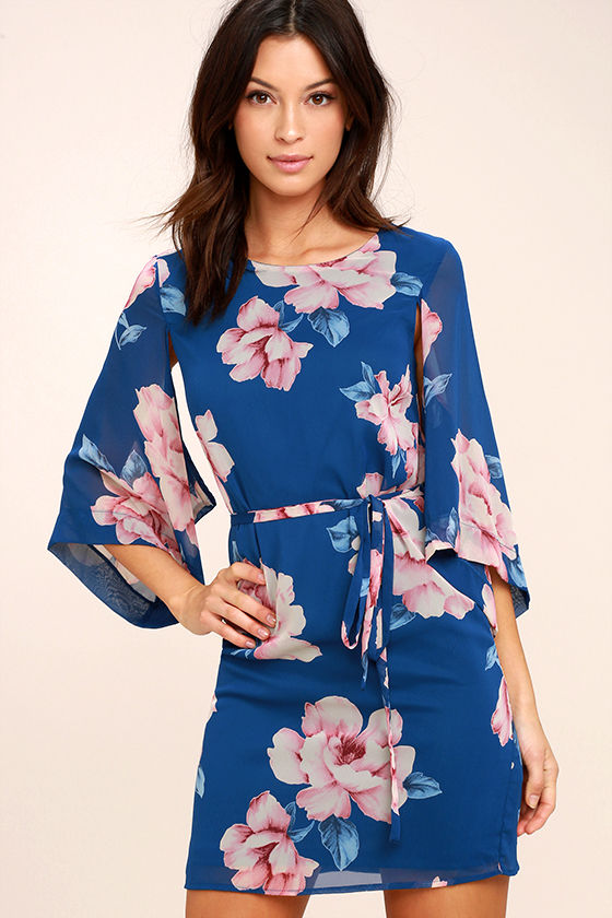 Joyful Noise Denim Blue Floral Print Mini Dress 1