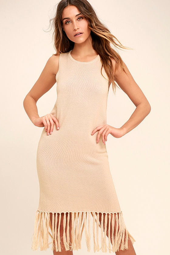Sweetest Thing Beige Midi Sweater Dress 1