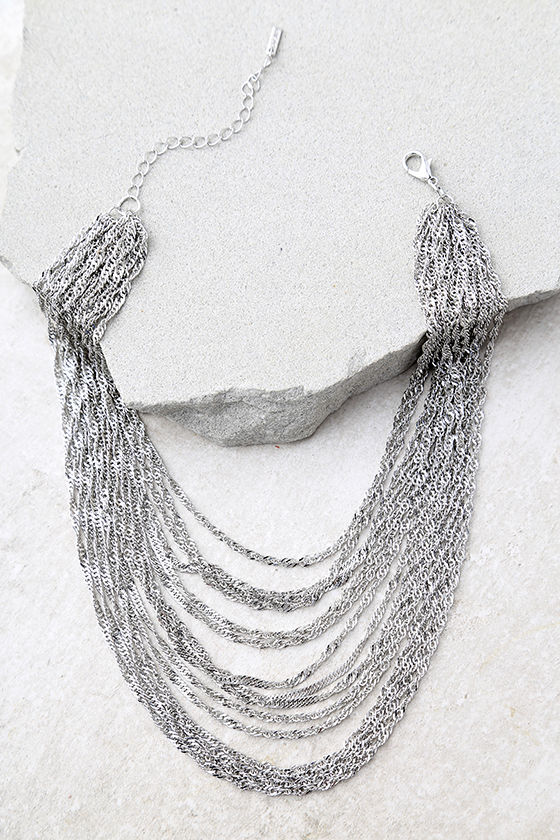 Party Hopping Silver Layered Choker Necklace 2