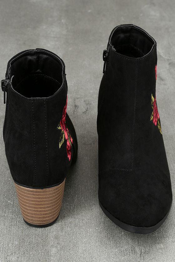 Feronia Black Suede Embroidered Ankle Booties 3