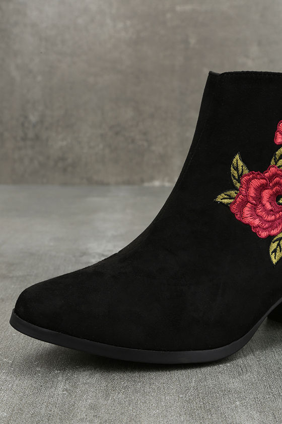 Feronia Black Suede Embroidered Ankle Booties 6