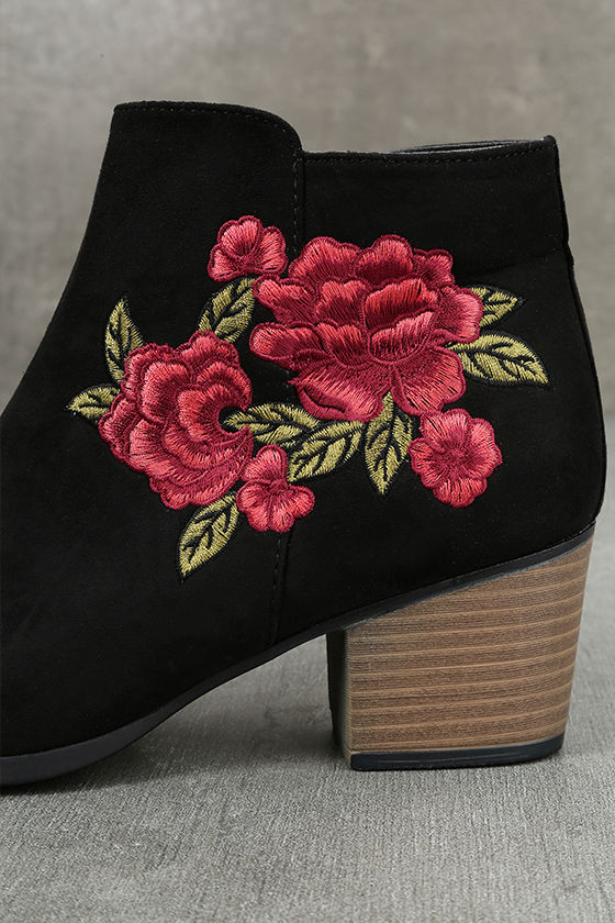Feronia Black Suede Embroidered Ankle Booties 7