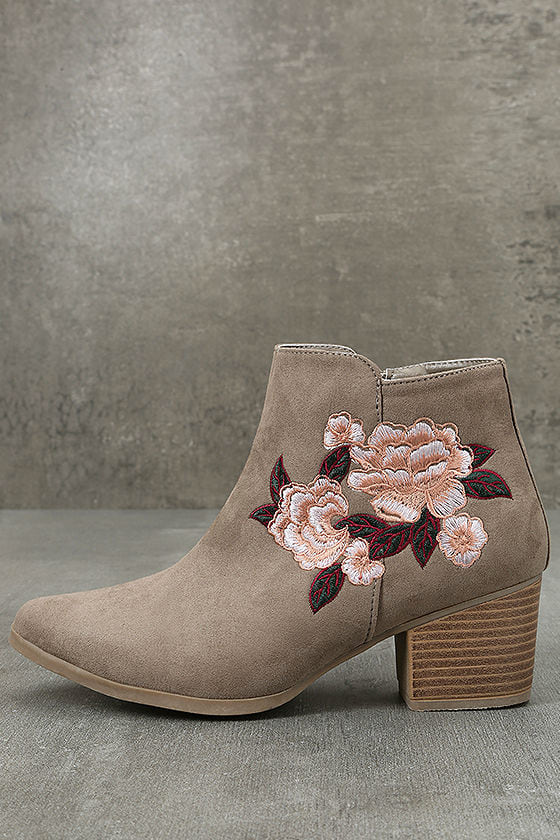 Feronia Taupe Suede Embroidered Ankle Booties 1