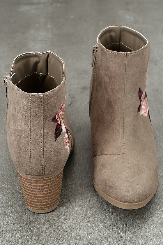 Feronia Taupe Suede Embroidered Ankle Booties 3