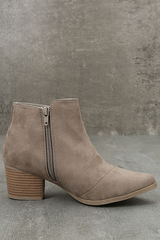 Feronia Taupe Suede Embroidered Ankle Booties 4