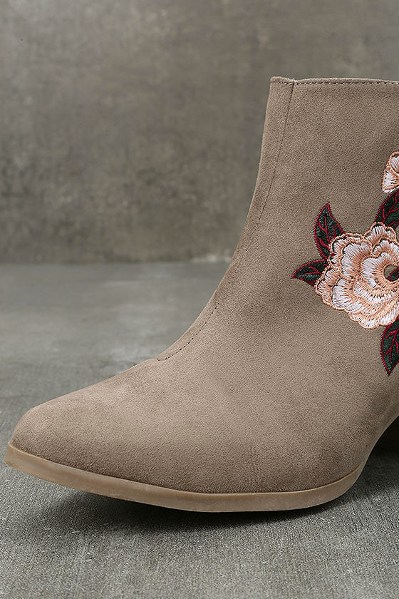 Feronia Taupe Suede Embroidered Ankle Booties 6