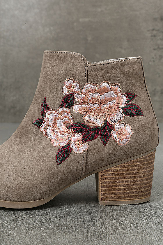 Feronia Taupe Suede Embroidered Ankle Booties 7
