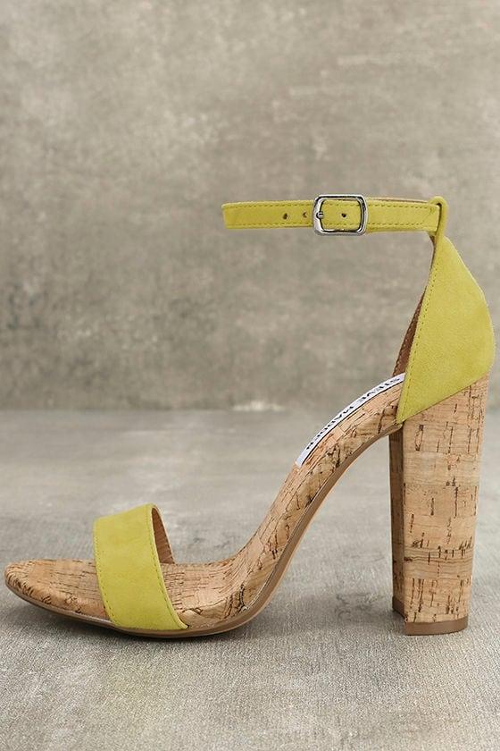 0e1aa6ab6de Steve Madden Carson C Yellow - Cork Heels - Suede Leather Heels ...