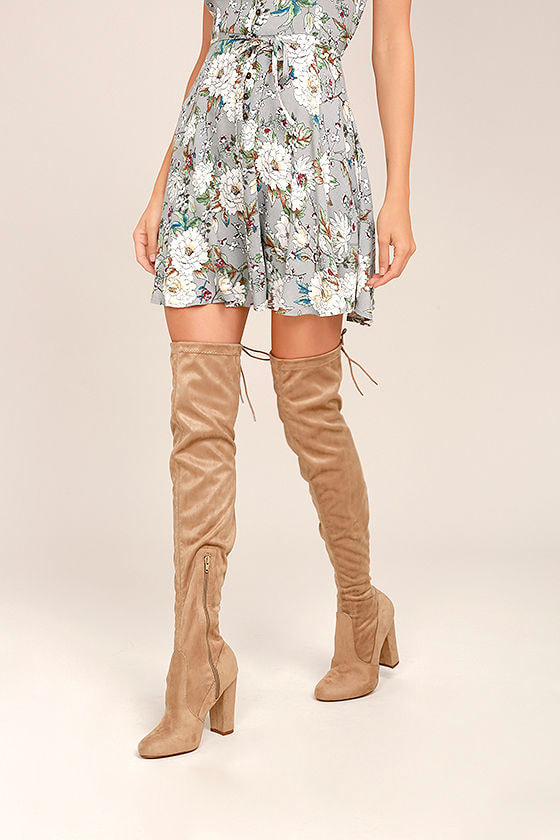 So Much Yes Taupe Suede Over the Knee Boots 1