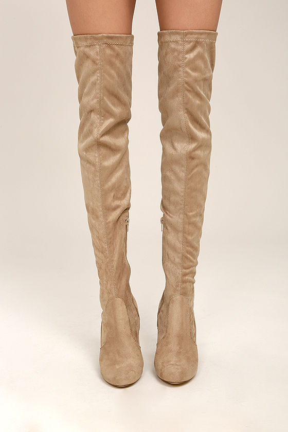 So Much Yes Taupe Suede Over the Knee Boots 2