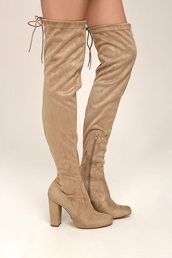 So Much Yes Taupe Suede Over the Knee Boots 3