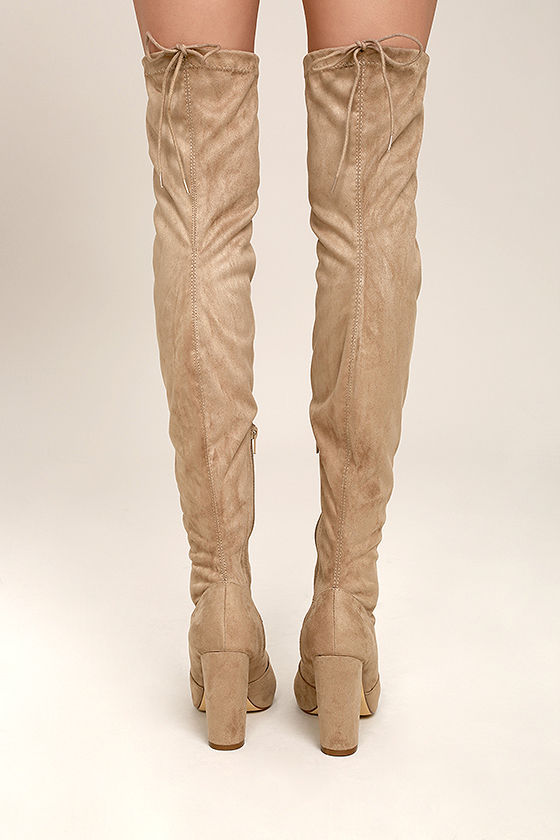 So Much Yes Taupe Suede Over the Knee Boots 4