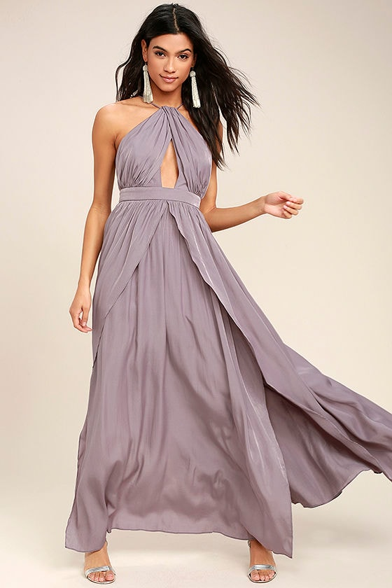 b8b05bc0db2 Lovely Dusty Purple Dress - Maxi Dress - Halter Dress -  94.00