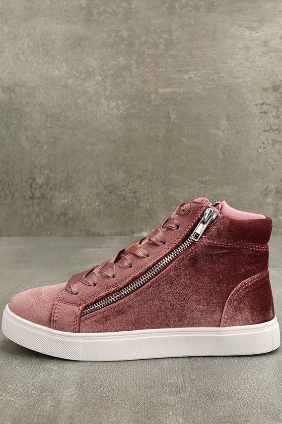 Madden Girl Eppic Blush Velvet High-Top Sneakers 2