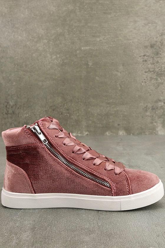 Madden Girl Eppic Blush Velvet High-Top Sneakers 4