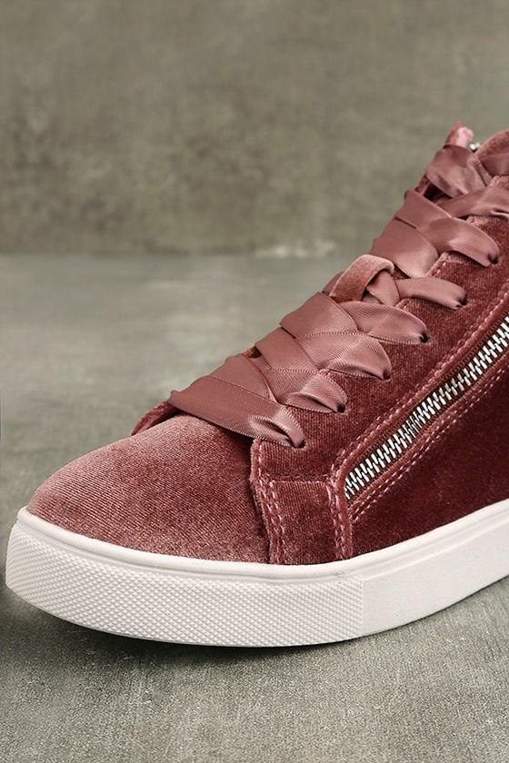 Madden Girl Eppic Blush Velvet High-Top Sneakers 6