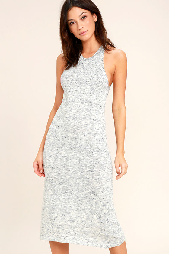 Delightful Demeanor Blue and Cream Bodycon Midi Dress 1