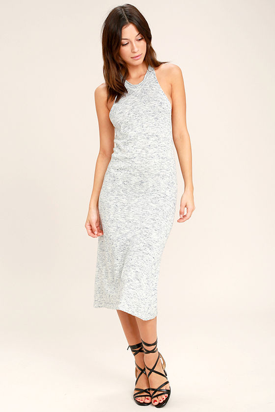 Delightful Demeanor Blue and Cream Bodycon Midi Dress 2